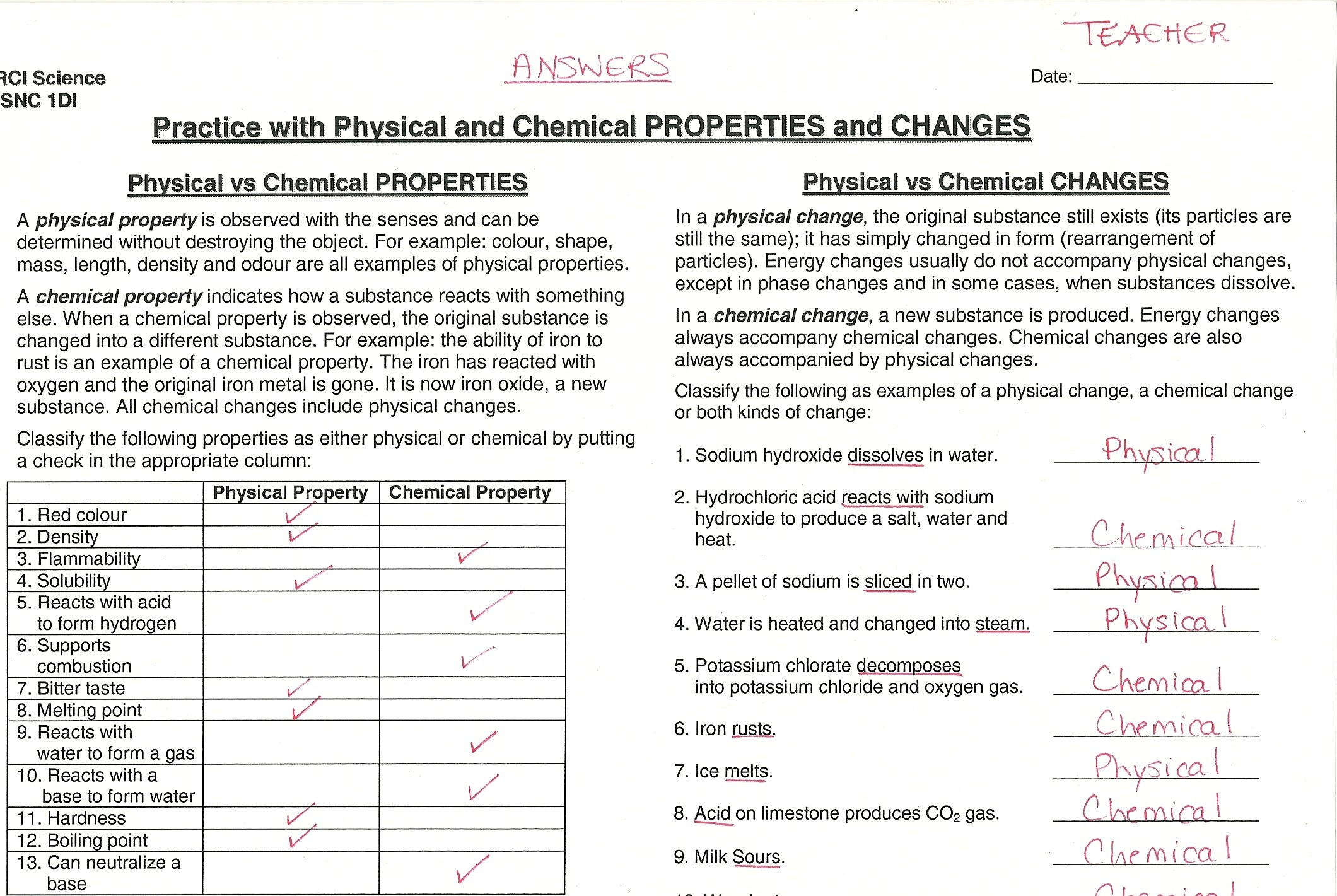 worksheet Physical Properties Worksheet chemical and physical properties worksheet abitlikethis chemistry changes worksheets images amp pictures